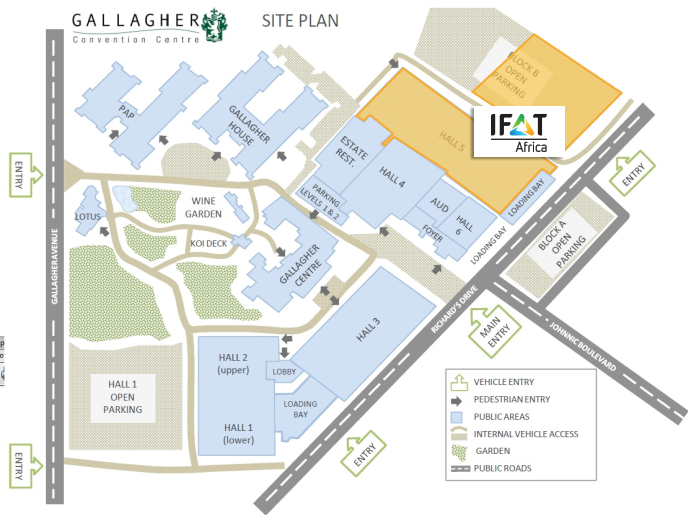 Fairgrounds map, Gallagher Convention Centre, Midrand, South Africa
